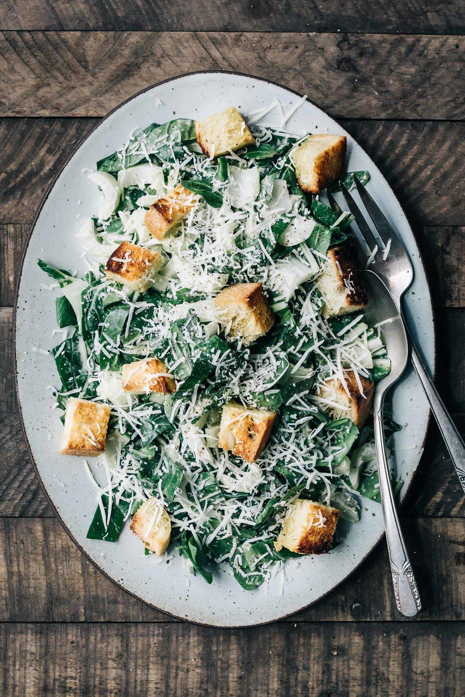 Bok Choy Caesar Salad with Spring Garlic Croutons