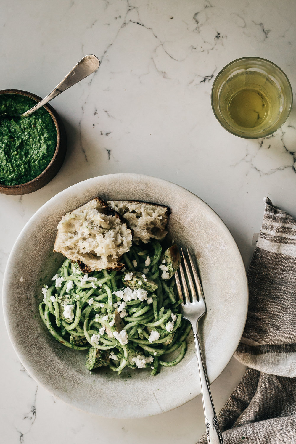 Turnip Noodle Bowls with Grilled Chicken and Turnip Greens Pesto