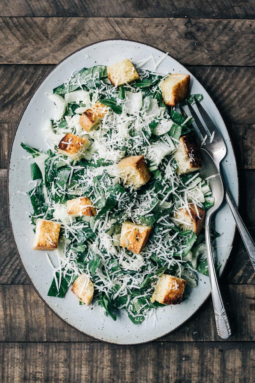 Bok Choy Caesar Salad with Garlic Croutons