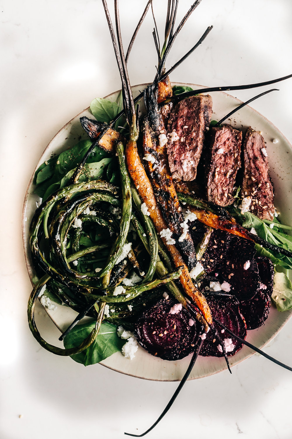 Steak Salad with Charred Vegetables   (use the mizuna instead of arugula and add the turnips instead of carrots!)