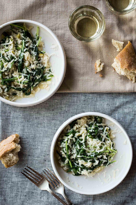 Green Garlic Risotto with Mizuna   (sub the garlic scapes for the green garlic)