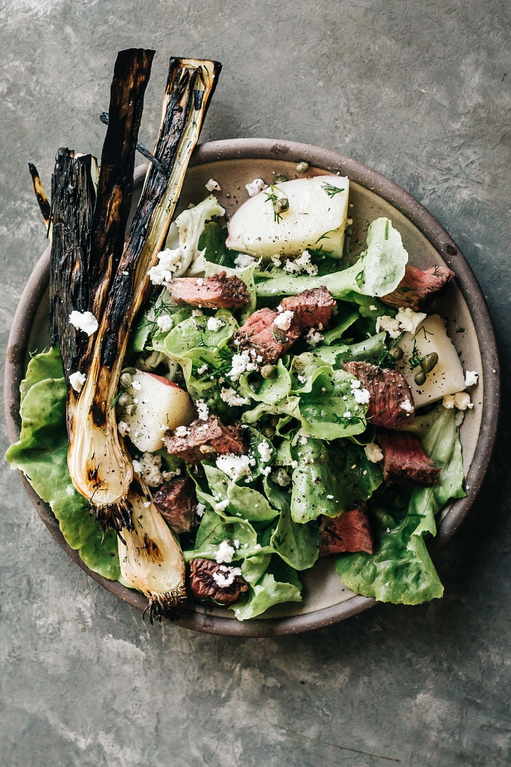 Steak Salad with New Potatoes and Charred Leeks   (use beets in place of potatoes and sweet onions in place of leeks)