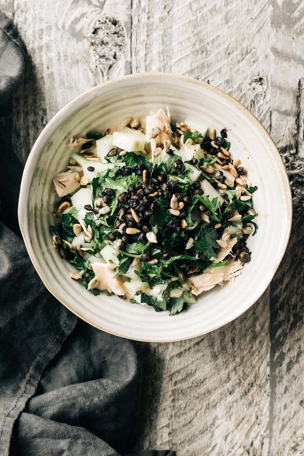 Kohlrabi Tuna Salad with Fried Capers