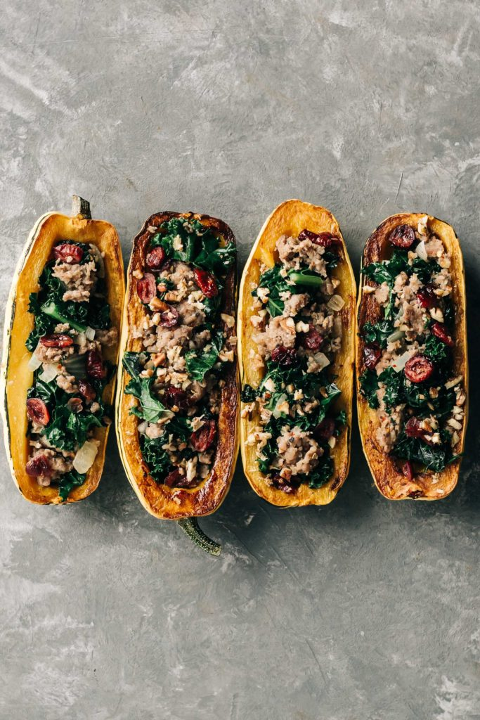 Autumn Spiced Pork Sausage & Kale Stuffed Squash