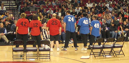 "CSz plays a round of ""Story Manual"" at the Rose Garden Arena at the Trailblazers Faith and Family Night following an NBA game"