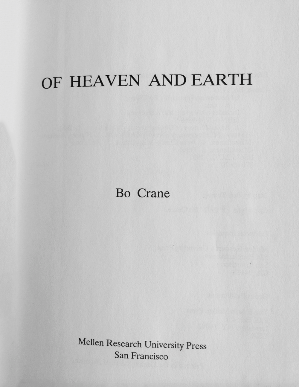 of Heaven and Earth by Bo Crane