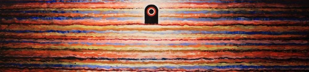 """Totem"" Tripoli, 2015, acrylic, gouache on board."
