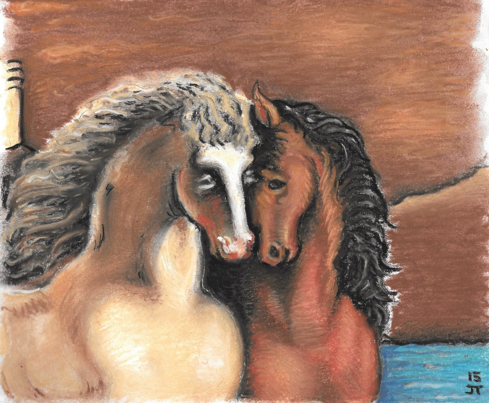 """The Divine Horses (after de Chirico)"" Tripoli, 2015, pastel on paper."