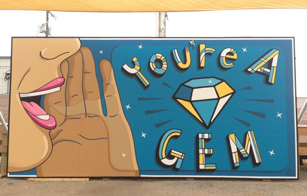 """You're a Gem"" Lupoli / Community Mural, 2017; Sacred Heart."