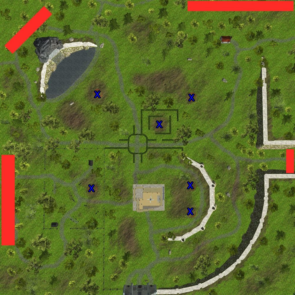 Blue x's represents oat fields. Red areas represent enemy spawn zones