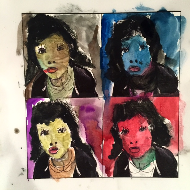 Harris's portrait as a teenager girl by Harris    Inspired by Andy Warhol