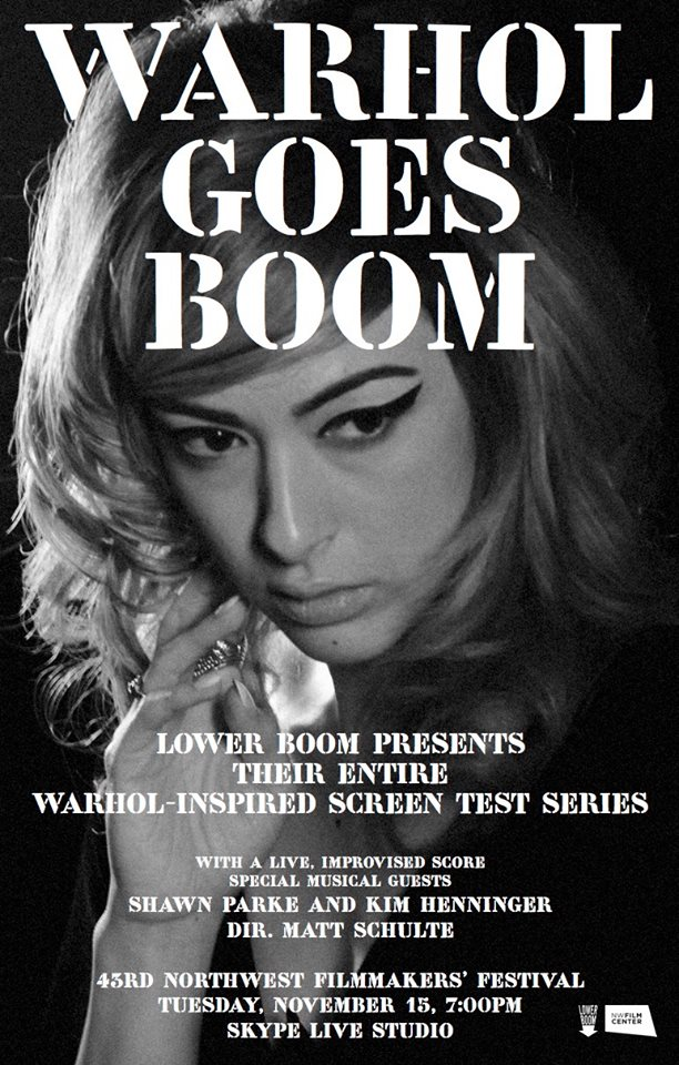 experimental score for Warhol goes boom We created a live one time only experimental score for Director Matt Schulte.  Schulte asked us to create the score from the ambient sounds in the room during the screening. Schulte and Scott Ballard shot multiple 2 minute long, B&W, silent screen tests on 16mm in a homage to Warhol.