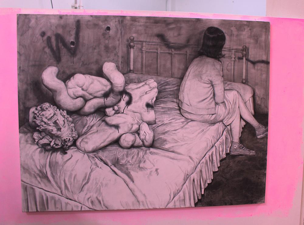 'Bedroom' pencil on canvas 2015