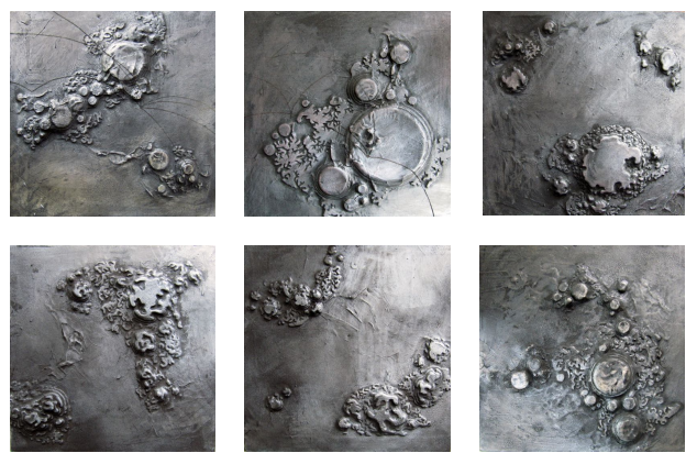 Odyssey I - VII , clay, charcoal, gesso, foam core on panel, 30 x 30 cm (each), 2015