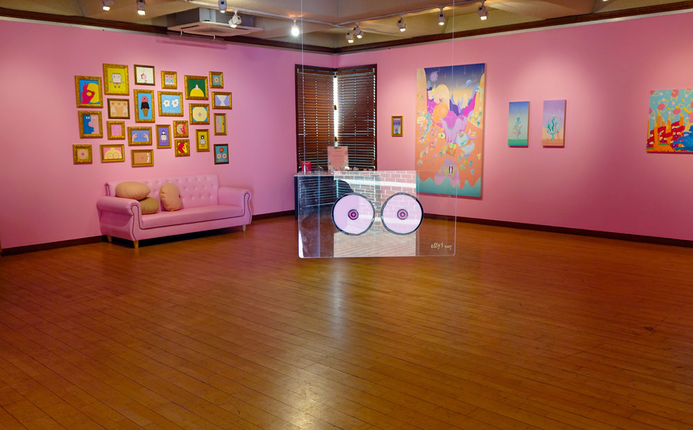 Interior of  Be Silly, Be Honest  exhibition at Jean Gallery with elly's,  You Can Have Boobs,   2017
