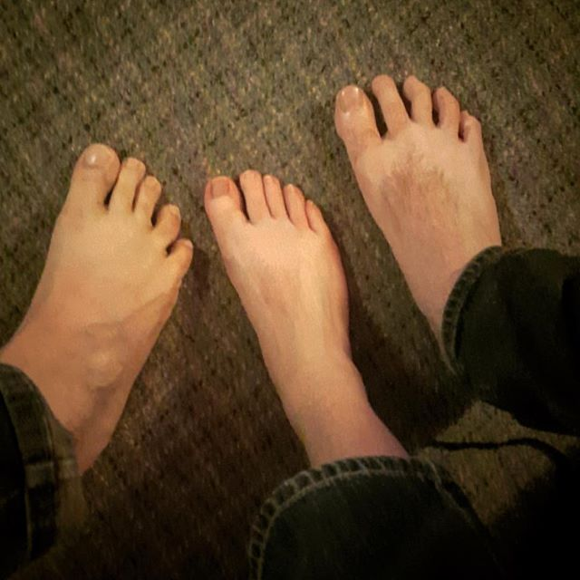 Three male feet. If you guessed the feminine middle foot was Adam, you'd be correct. #thelotuscast #strangelabel #podcast #iTunes #stitcher #comedy #foot #feet #fetish
