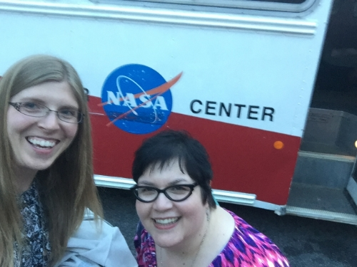 Andrea Santos, 2016 West Virginia Teacher of the Year, and me in front of the Space Camp bus.
