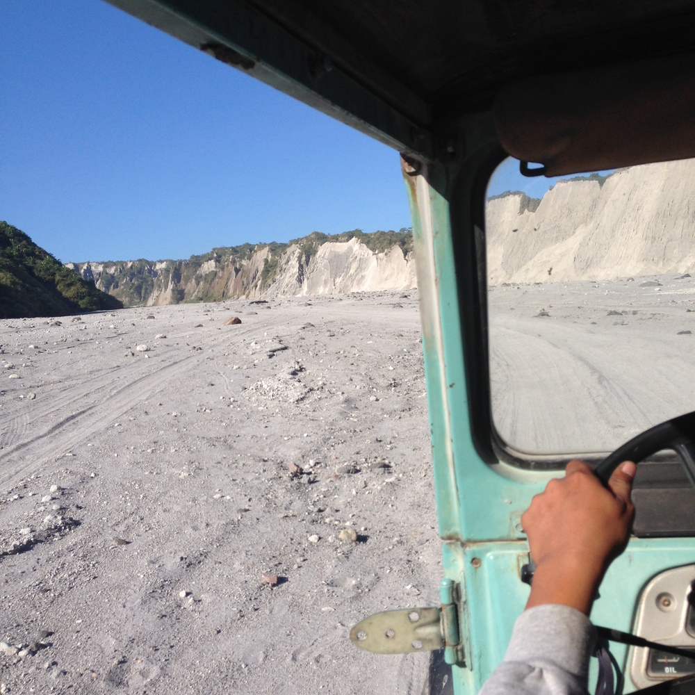 Riding the jeep through the Mount Pinatubo lahar.