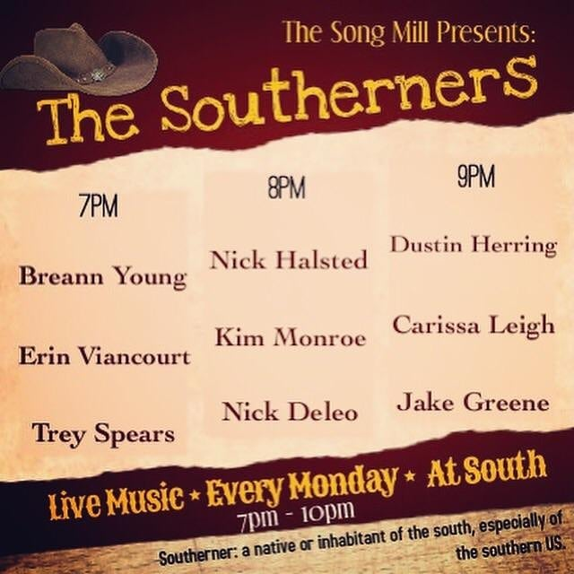 Playing tonight at south! With @kimmonroemusic and @benjohnsoncountry  8pm! Come on by these guys are all awesone!
