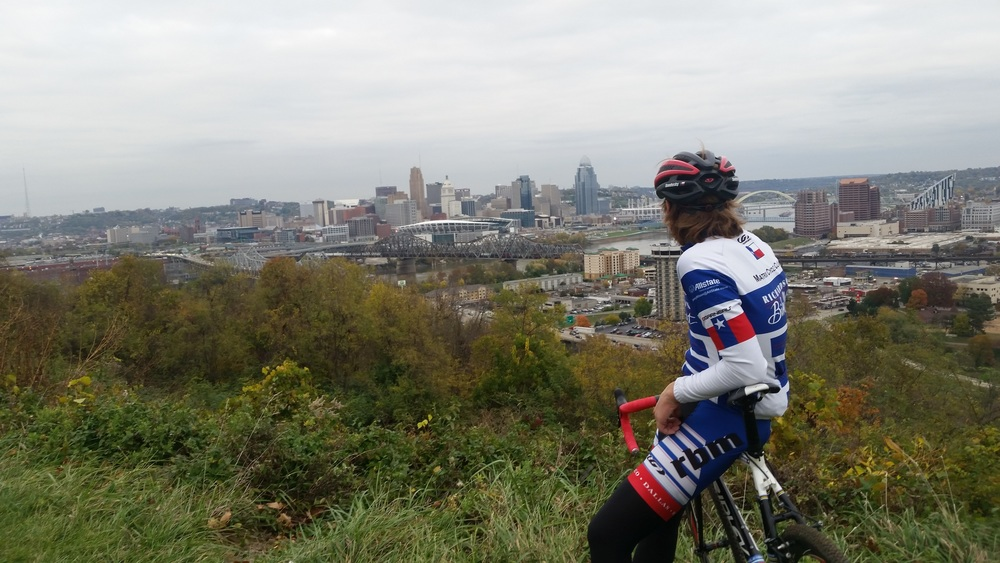Checking out Cincy from the lookout in Devou Park