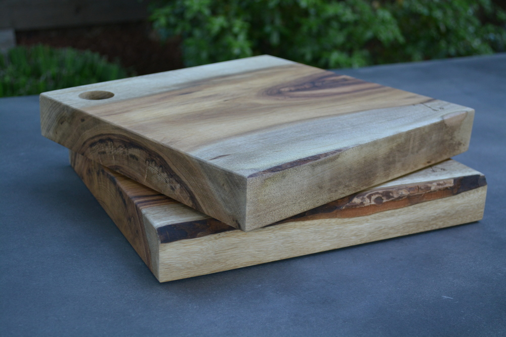 Myrtle serving boards with live edge.