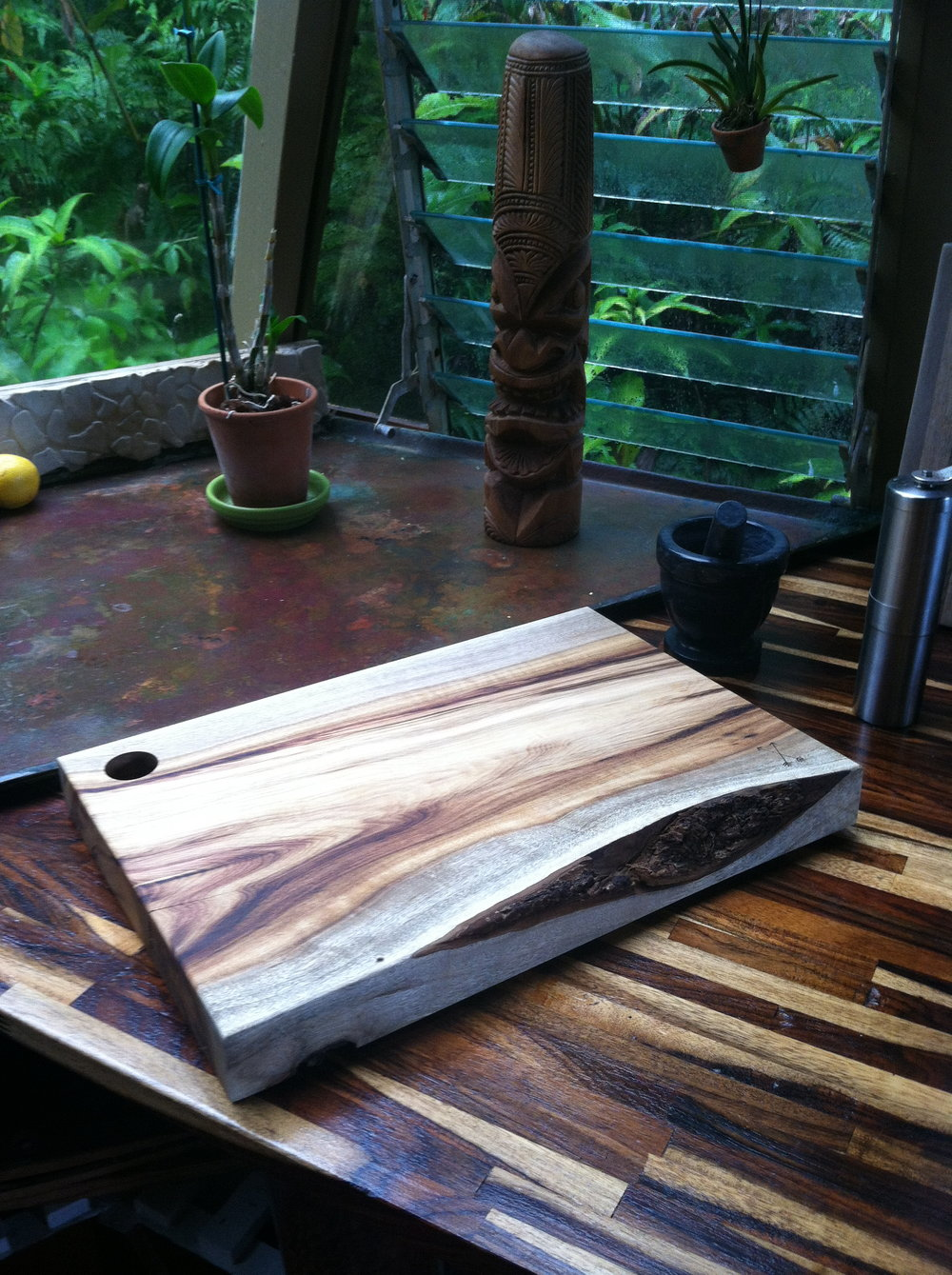 "16"" Myrtle serving board found its home in Maui."