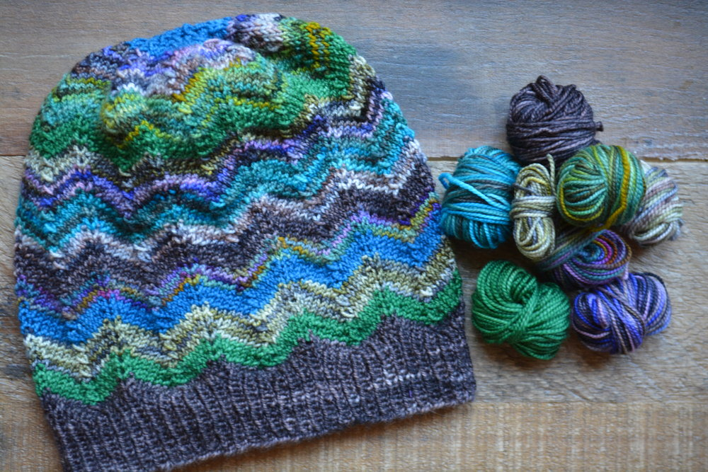 I am a huge fan of the Missoni-style chevron pattern. My friend sent me a pattern which I modified to use on a beanie. I feel thrilled to be knitting up left-over Koigu sock yarn to make something so vibrant!