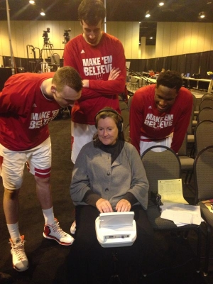 Christy with Wisconsin men's basketball team