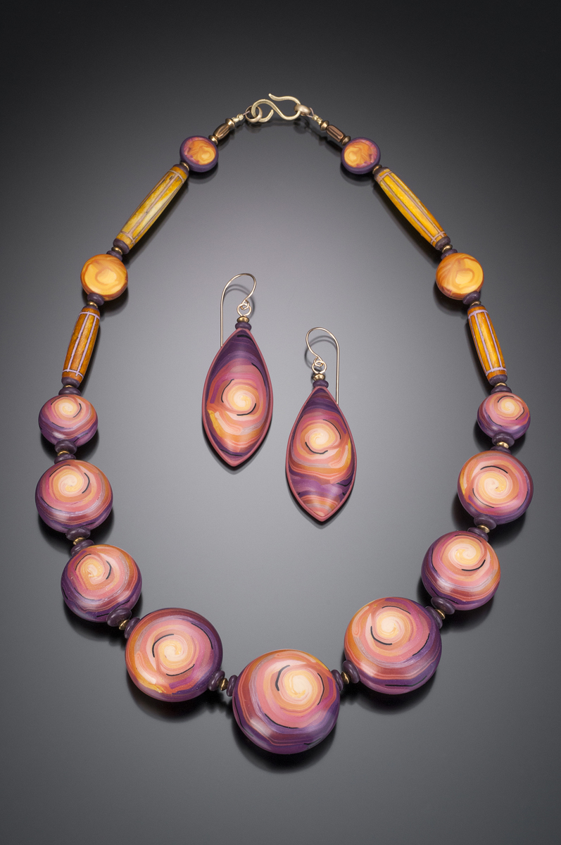 Pink Cyclone Bead Necklace   2014