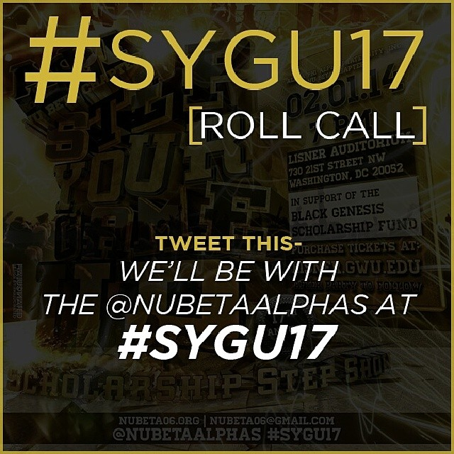 Let the @NuBetaAlphas know if you'll be with them at #SYGU17 tomorrow February 1st at Lisner Auditorium of GWU!