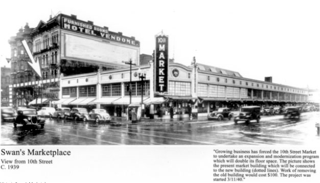 Historic Swan's Marketplace in the 50's