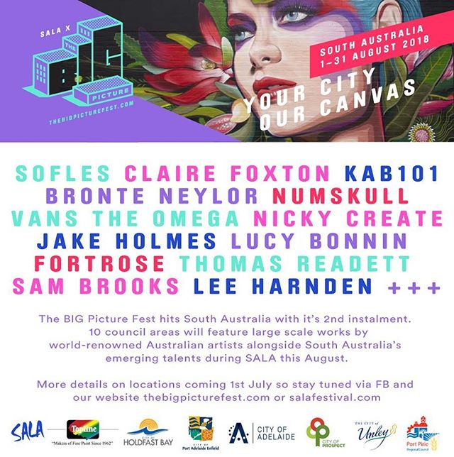 The BIG Picture is rolling through South Australia during August in conjunction with SALA. So excited to be with this incredible line up of artists from around Australia. We are adorning walls from Lonsdale to Port Pirie for this coming installment of the festival. Street artists will be painting in the CBD and suburbs to add to our incredible creative state. More information on locations coming soon via thebigpicturefest.com Many thanks to our sponsors for making this possible. #TOPLINEPAINT #SALA #thebigpicturefest
