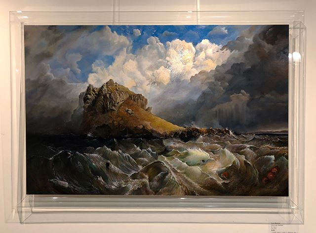 Delighted that my painting 'Storm After Stanfield' was highly commended in the Fleurieu Biennale. Frame designed with Pop at Sling & Hook worked out so well too 😅 - bringing the old world painting style into the modern day and referencing the plastic I painted into the ocean, which unfortunately is the reality for our world now. #worldoceansweek @fleurieu_art_prize