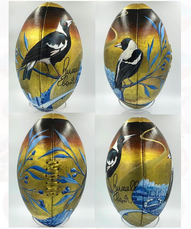 My Footy collab with Russell Ebert for #TransformARTive Opening night and auction tomorrow 6:30. Russell wanted me to symbolise his connection to the Riverland, Adelaide & the Magpies.. it was a challenge! But happy with the result & hoping we can help raise some much needed $ for the kids at Youth Opportunities to transform their lives ✨#russelebert #sherrinfooty @youthopportunities #bonninart