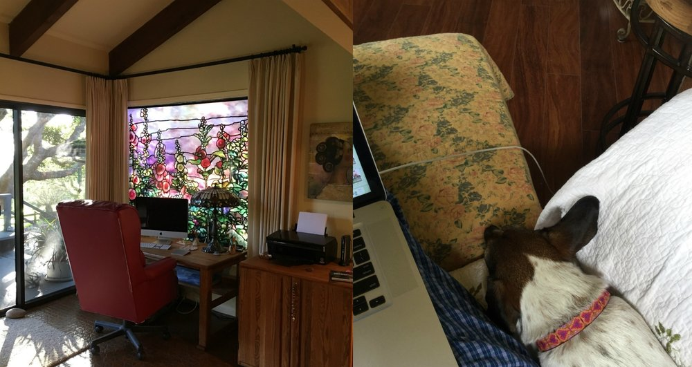 My beautiful office, left, and where I really write, right. Note pajamas and dog-hair-protected furniture.