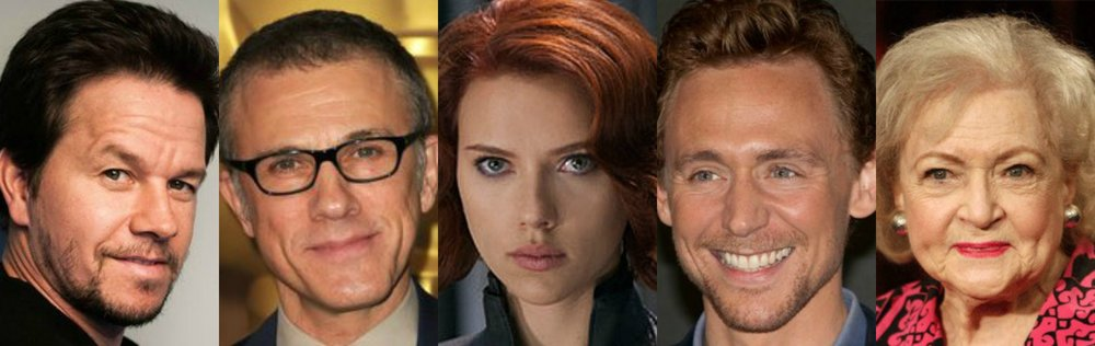 Mark Wahlberg, Christoph Waltz, Scarlett Johansson, TomHiddleston and Betty White