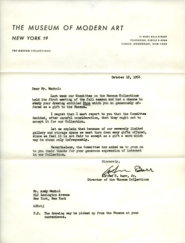 Andy Warhol MoMa Rejection Letter (via Paper Mag)