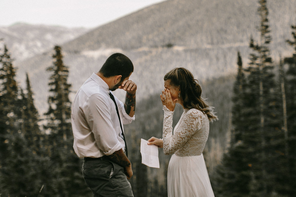 Gabe & Jess - Their elopement in Rocky Mountain National Park was honestly one of my favorites to witness. It was just them (and me third wheeling). They read their vows to each other which brought them both to tears and ended the day exploring the most beautiful parts of the park.