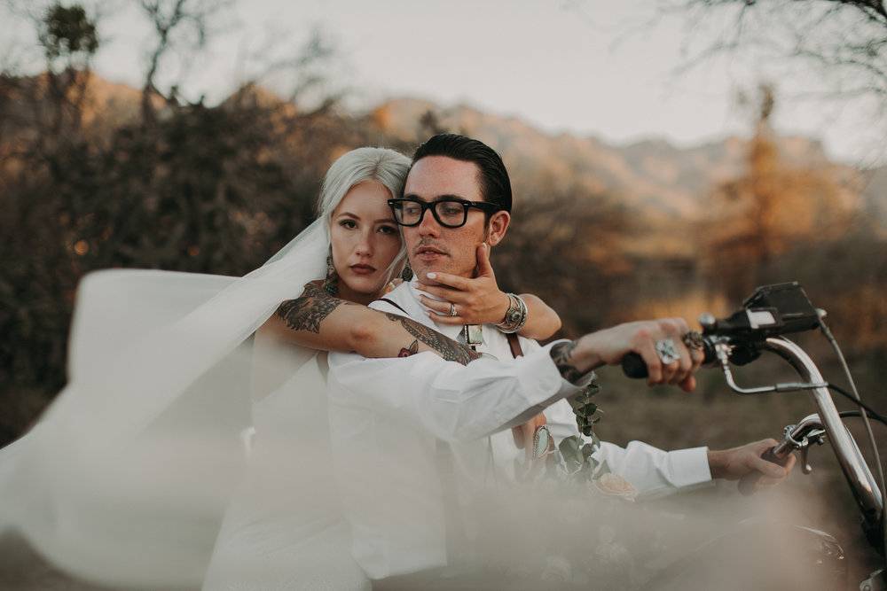 Chris & Amber Desert wedding - Tucson, AZMy badass Arizona babes in all their badass glory. My heart melts for these two. They actually found me because I shot one of their friends weddings (who I also love) and whenever I'm in Arizona they all invite me to hang with them and I just love them so much I kinda just want to pack my things and move to Tuscon and join the gang full time. But since I can't I'll just continue to shoot all their weddings lolss