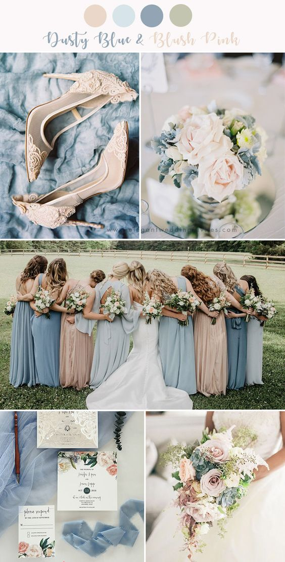 Dusty Blue + Blush - Dusty blue is such an soft yet powerful color that's helped bring many a wedding to life. Create a color palate of bridesmaids in dusty blue dresses holding a blush bouquet of flowers, a blush arch with a mixture of dusty blue, and blush pieces of decor, such as tablecloths and napkins.