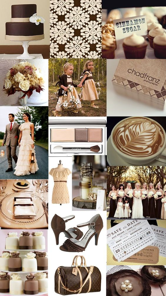 Brown + Ivory + Gold - An elegant array of colors for a natural feel, brown, ivory and gold is neutral yet classic. Use brown as your accent color, decorating the space with gold and ivory centerpieces and serving trays, and you've got a natural color theme that really pops.