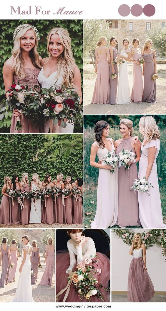Shades of Mauve + lilac + pink - This combination creates a perfect setting against the backdrop of the strong yet powerful mountain ranges. It can be used in a formal or an informal wedding ceremony, and is classy yet eye-catching. With bridesmaids in various shades of mauve, lilac and blush pink, and a simple yet striking bouquet of flowers ranging from lights to darks, you've got a boho-chic pastel dream wedding color theme.