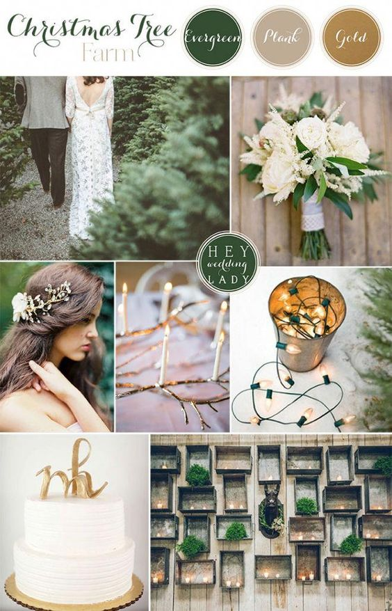 Plank + Evergreen + Gold - When it comes to colors that bring warmth, plank, evergreen, and gold are the perfect trio. Picture it: you're somewhere serene and soul-enriching with your nearest and dearest and these three colors to keep you warm. They're perfect for a winter wedding, and anything nature-inspired.