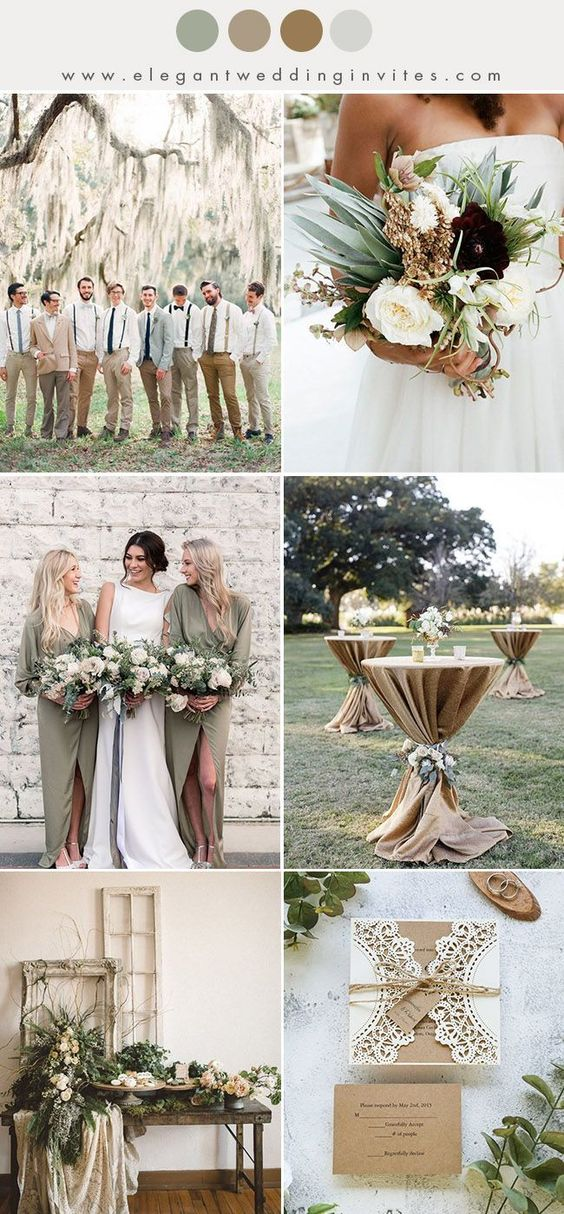 Olive Green + Cream + Manila - Depending on the way in which you use these colors, you could create a late summery going-into-fall-feel or a rustic chic-inspired wedding color combination. Add gold or manila table cloths with gorgeous fresh white flowers, and beautiful olive bridesmaid dresses to compliment.