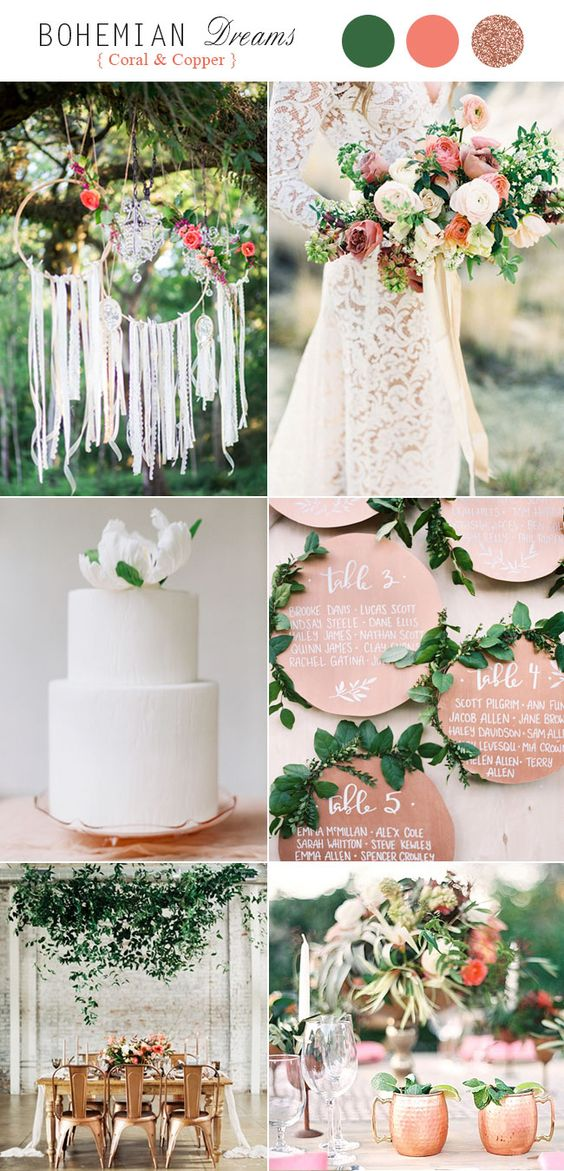 Metallic Coral + Copper + Nude - For that bohemian slash hippie-inspired wedding look, metallic coral, copper, and shades of nude and pink create such a breathtaking scene for a mountain wedding. Add in a few fresh colorful flowers to compliment the look, while using pieces of coral and metallic copper (and perhaps a few pieces of glittery rose gold) as your impeccable decor. Set amongst the rolling mountains, you've got a color palette that really wins.