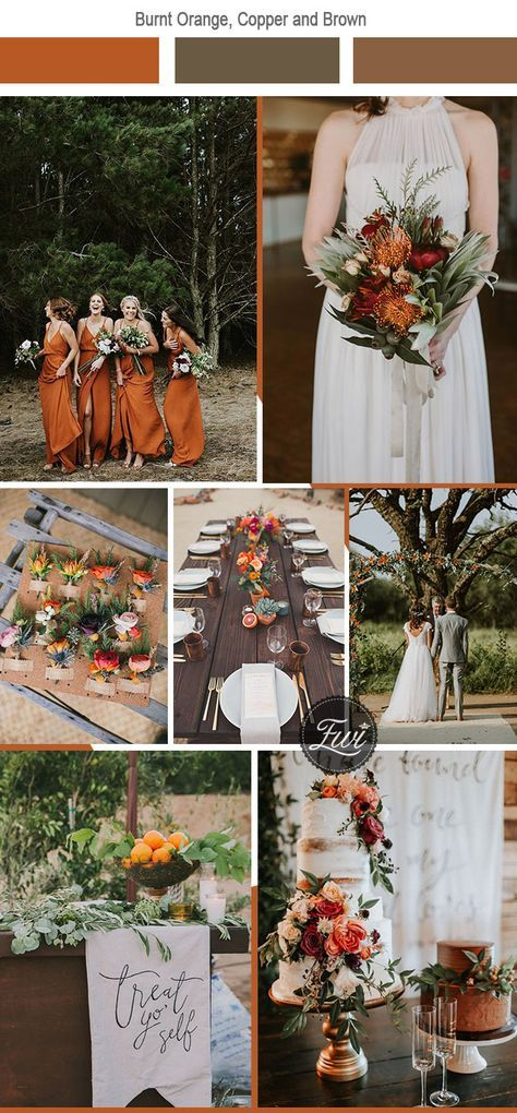 Burnt Orange + Copper + Brown - For a mixture of earthy tones, contrasting colors, and boho-chic, burnt orange, copper, and brown go together flawlessly. One could not ask for a more mountain-inspired wedding palette. With your bridesmaids in burnt orange with decor of copper pieces, and a few summer bold colors to compliment, you'll be able to create the ultimate nature wedding style.
