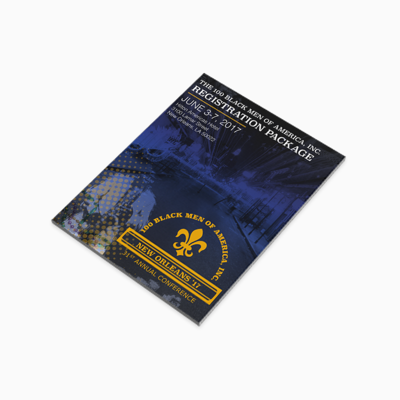 100 Black Men of Atlanta, Inc.  Cover design of Registration Package, offering information on the Annual Conference. The theme of the Conference; programmatic pillar of Health & Wellness – Improving Health & Wellness: Addressing Community, Causation and Change.
