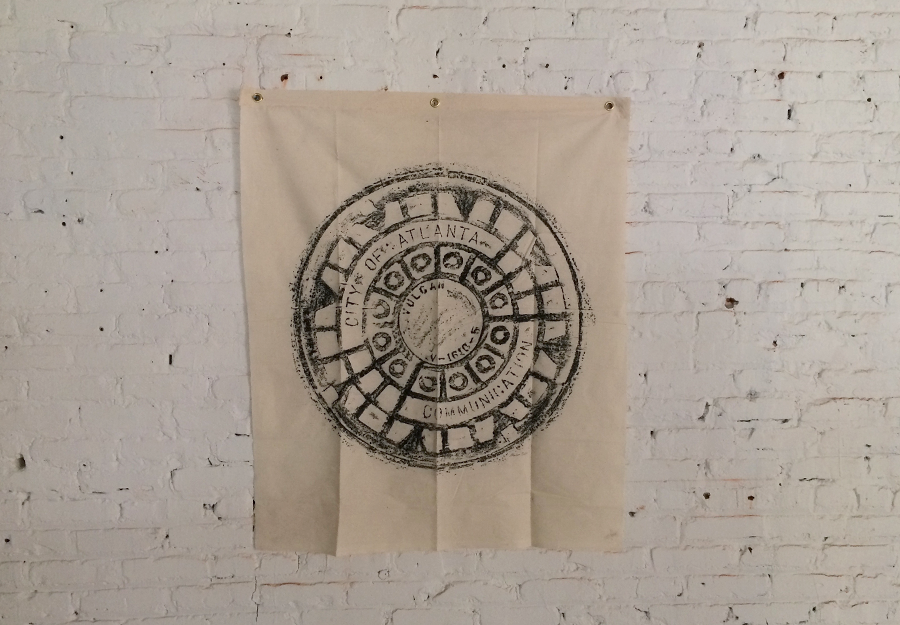 """ATL COM   more photos »  - Size 37.5""""x37.5"""" (100% Cotton) - Wax Rubbing of a manhole cover - Print size 30""""x30""""   $325  Signed Limited Edition Print*"""