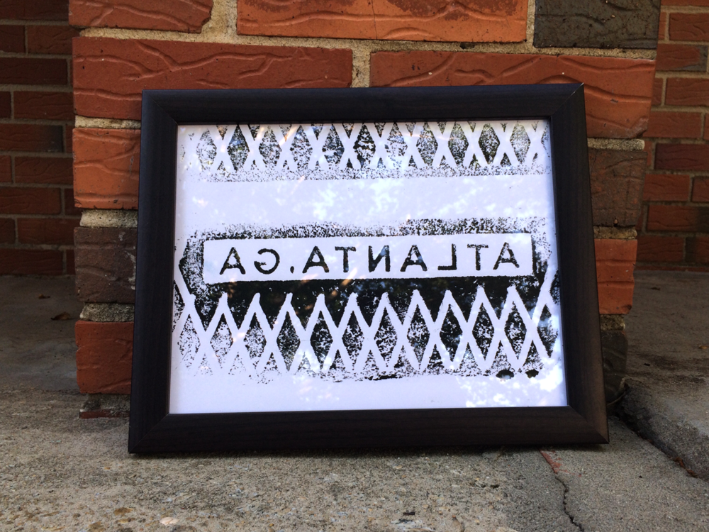 ATLANTA MANHOLE - dos  Original print on 8.5 x 11 card stock paper, using screen printing ink. Shipped and ready to be framed.