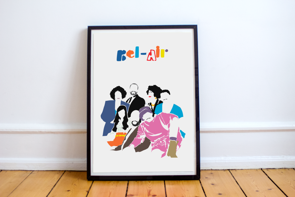 A print series of stencils, that brings together the cast from the most iconic shows from the golden era of sitcoms. The distinct emptiness of each stencil print, turns the entire viewership into a TV trivia quiz.   BEL-AIR  Print on smooth white, matte, acid free paper using water based pigment inks. Shipped and ready to be framed.   $15.00     (print: 12 x 18)    Add to Cart